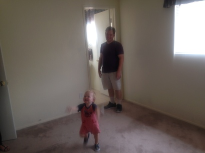 Blurry picture from our final walkthrough because little guy couldn't stop dancing with excitement. That face though!